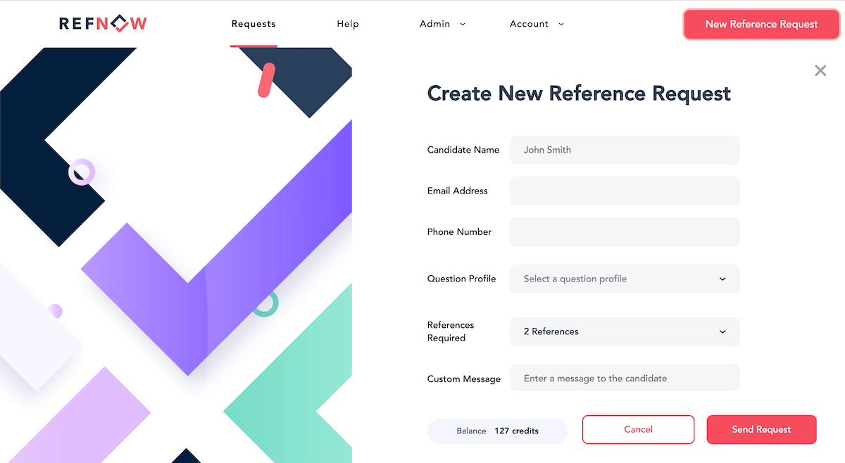 Create a new reference request